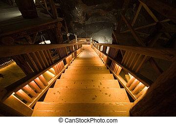 Ladder in salt mine