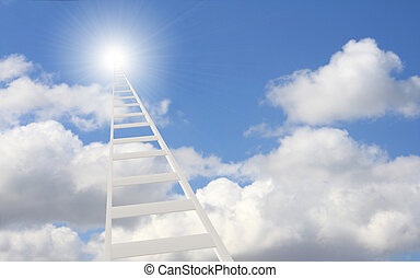 Ladder in the sky - Conceptual image - 3d ladder in the sky