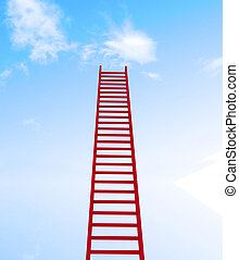ladder leading to a clouds - rendered in 3d