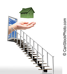 Ladder leading up to the green eco house concept with hand.