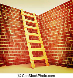 Ladder leans on brick wall . 3D illustration. Vintage style.
