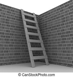 Ladder leans on brick wall