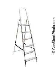 ladder, metaal, witte , vrijstaand