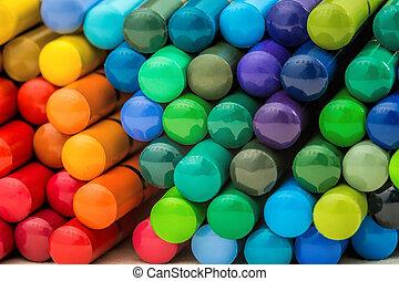 Ladder of rainbow pencils