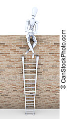 Ladder of Success - 3D Illustration.