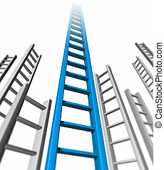 Ladder of success isolated representing blue success and...
