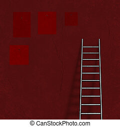 Ladder on wall and picture remnants - Ladder on wall and...