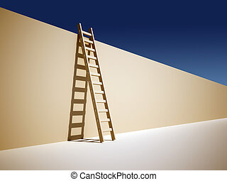 Ladder on wall - Illustration of a ladder leaning against...