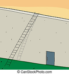 Ladder on Wall with Closed Door