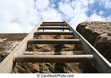 ladder, op, bovenkant, van, muur
