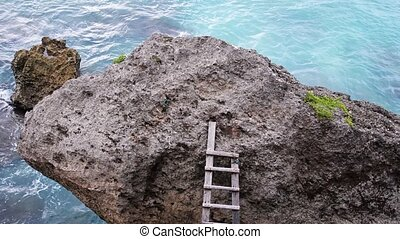 Ladder over a stone rock with the ocean in the background....