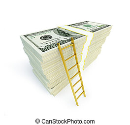 ladder rested on the dollar banknotes