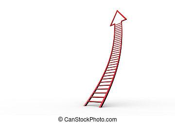 ladder, richtingwijzer, rood, grafisch
