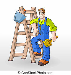 ladder, schilderij, schilder