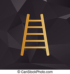 Ladder sign illustration. Golden style on background with polygons.
