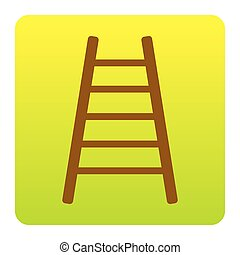 Ladder sign illustration. Vector. Brown icon at green-yellow gradient square with rounded corners on white background. Isolated.