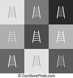 Ladder sign illustration. Vector. Grayscale version of Popart-style icon.