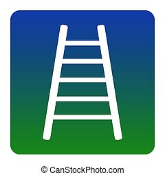 Ladder sign illustration. Vector. White icon at green-blue gradient square with rounded corners on white background. Isolated.