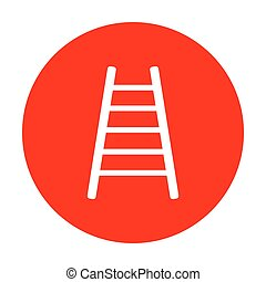Ladder sign illustration. White icon on red circle.