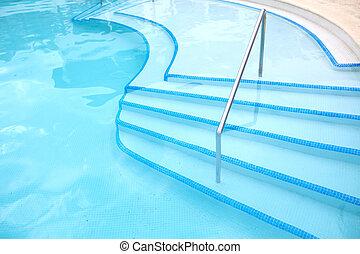 ladder., slå samman, simning