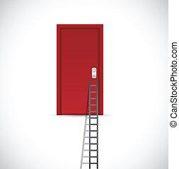 ladder to a red door. illustration design
