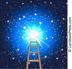 ladder to a star in space