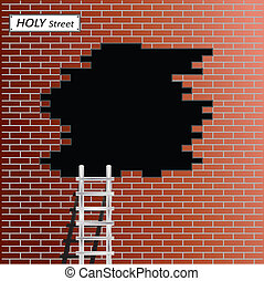brick wall - Ladder to black hole in red brick wall