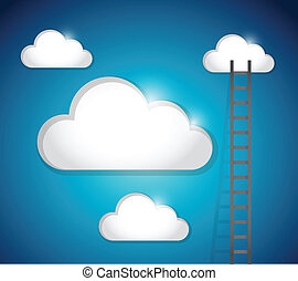 ladder to cloud illustration design