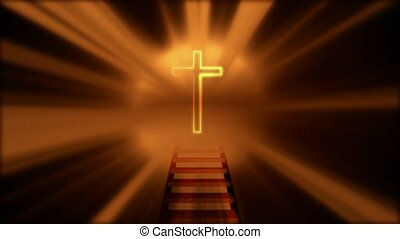 Ladder to Cross with Radiant Light Behind