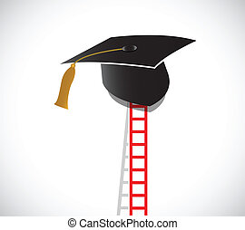 ladder to graduation. illustration design over a white...