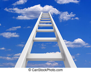 White ladder leading to a clouds - rendered in 3d