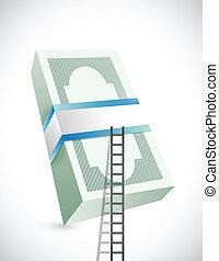 ladder to stack of bills. illustration design
