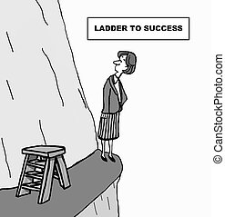Ladder to Success - Cartoon of businesswoman looking up...