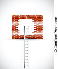 ladder to wall illustration design