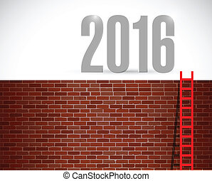 ladder to year 2016. illustration