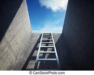 ladder, toonaangevend, op