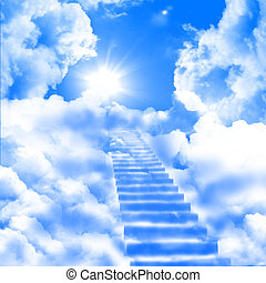 ladder up to skies - a ladder directed up to blue cloudy...