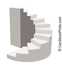 Vector illustration a circular staircase leading up. In the style of 3D. Isolated.