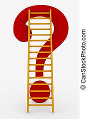 ladder, vraag, bovenzijde, rood, mark