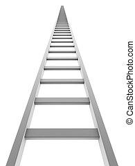 ladder, vrijstaand, op, achtergrond., gaan, witte