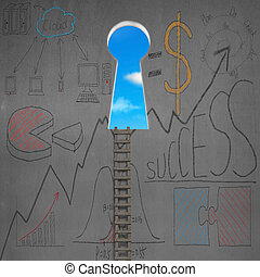 Ladder with key shape door and business doodles on wall