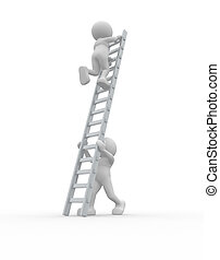 Ladders - 3d people climbing ladders - This is a 3d render...