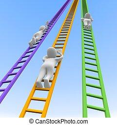 ladders., geleistet, illustration., konkurrenz, 3d