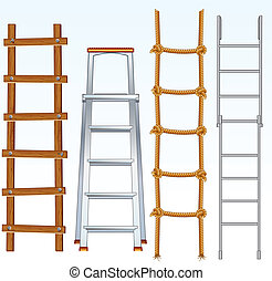 Ladders - Illustration of various isolated ladders, ...