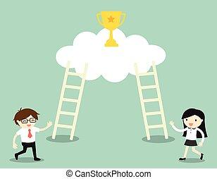 ladders, klimmen, winnaar, cup.