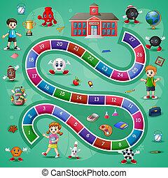 ladders, slangen, school, thema, spel