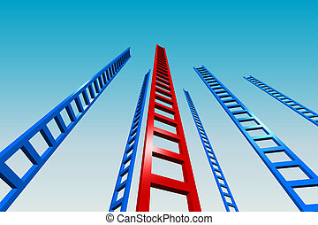 Ladders to the Sky - 3d render illustration of several tall ...