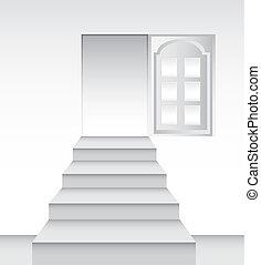 towards the door