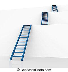 ladders, visie, vertegenwoordigt, het veroveren tegenslag,...
