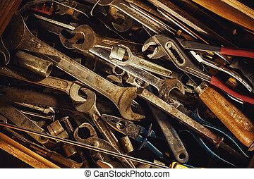 lade, oud, gebruikt, gereedschap